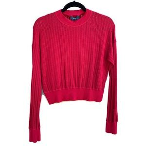 Theory Open Knit Cropped Long Sleeve Sweater